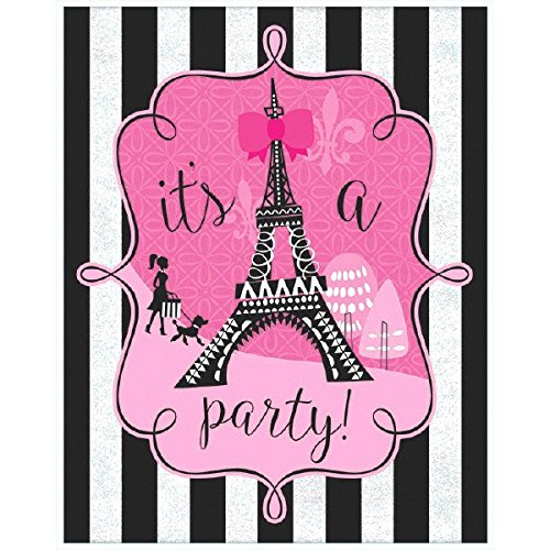 Amscan 490096 Supplies Party Invitations, One Size, Multicolor (Party Supplies Birthday Paris)