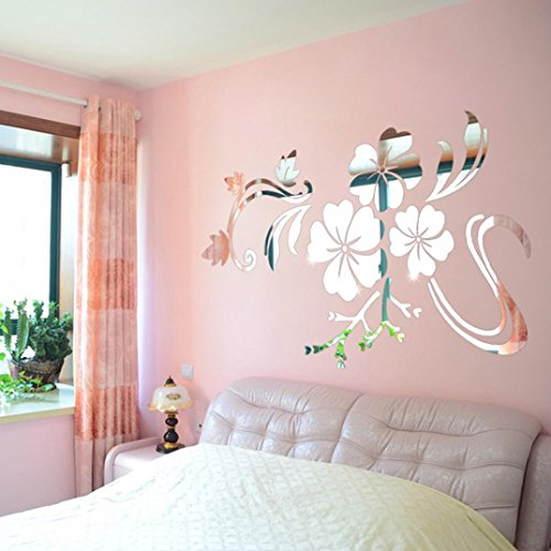 Wall Stickers, SHOBDW 3D Flower Mirror Vinyl Removable Wall Sticker Decal Home Decor Art DIY (78*60cm, Sliver)