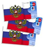 Russische cardbox Motiv: Russland Flagge / Russische Fahne /// 3er SET /// Kartenhülle, Ausweishülle, Visitenkartenhülle für alle Karten im genormten Scheckkartenformat