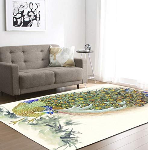 HJYL Teppich Chinesischer Pfau Modernes Wohnzimmer Schlafzimmer Und Kinderzimmer Polyester120X170Cm
