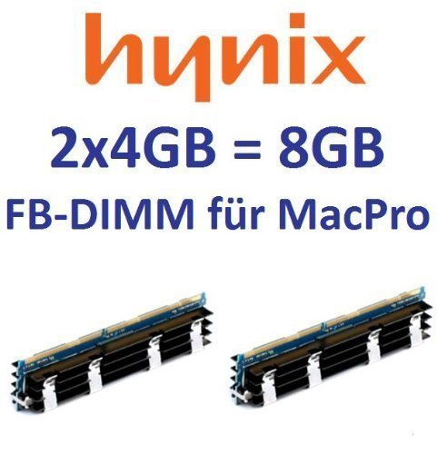 HYNIX original 2 x 4GB = 8GB Kit 240 pin FB-DIMM DDR2-800 PC2-6400 128Mx4x36 double side (HYMP151A72CP4D3-S6) für MacPro Systeme 1,1 2,1 3,1 (Baujahre 2006 bis 2008) Modelle - Fb-dimm-speicher-kit