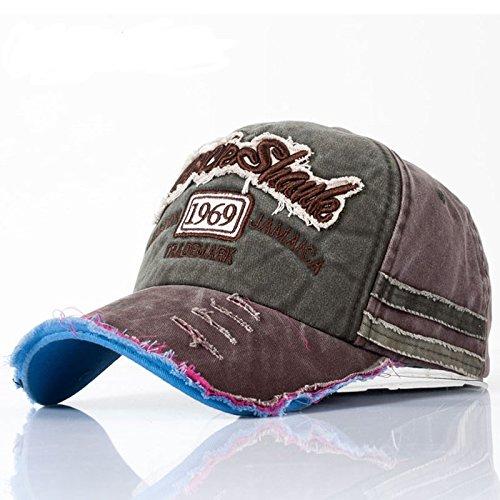 Kuyou Distressed Basecap Snapback Outdoor Baseball Kappe Mütze (Armeegrün)