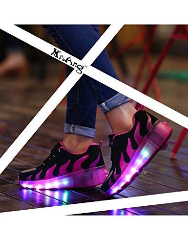 Mr.Ang Mit LED Lichter blinken Skateboard Schuhe Flügel-Art RollenRäder Schuhe Unisex Skateboard Lnline Sneaker Einzelnes Rad Jungen Mädchen Kinder Wanderschuhe neutral Kuli Rollschuh Schuhe Schwarz-Rose Red