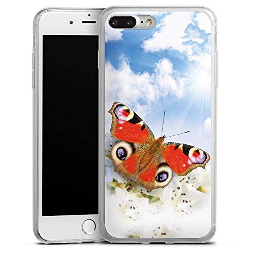 Apple iPhone 8 Slim Case Silikon Hülle Schutzhülle Schmetterling Blumen Sonne Himmel Wolken Silikon Slim Case transparent
