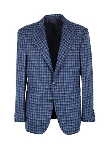 Preisvergleich Produktbild Kiton CL Checked Blue Capri Sport Coat Size 54/44R U.S. in Cashmere Blend