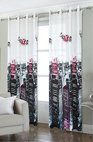 Tenda per interni ad occhielli New york tessuto stampato digitale misura 140 x 280 cm - Cucina,Negozio,Idea Regalo,Ufficio,Soggiorno