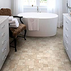 Natural Stone Tile Effect Cushioned Vinyl Flooring Sheet Lino Beige & Cream Random Stone Design Kitchen & Bathroom Extra Thick Roll Atlas Toucan 535 - Multiple Sizes Available (1.5m x 2m)