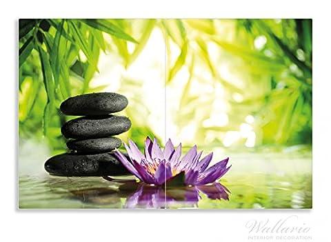 Wallario Herdabdeckplatte / Spritzschutz aus Glas, 2-teilig, 80x52cm, für Ceran- und Induktionsherde, Motiv Steinstapel in schwarz mit Blumenblüte in lila
