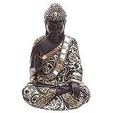 Thai Buddha Figur sitzend mit metallartigen Effekten 30 cm