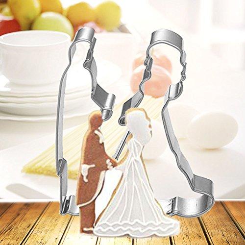 AMA-StarUK36 2 Stück Braut und Bräutigam Hochzeits-Ausstechform Keks-Ausstechform Keks-Ausstechform aus Edelstahl (Hochzeit Ausstechformen Bräutigam)