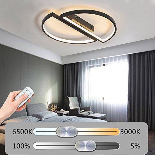 Modern LED Rund Einfache Deckenleuchte Dimmbar Deckenlampe mit Fernbedienung 2 Ringe Kreative Deckenbeleuchtung Acrylschirm Design Minimalistischen Wohnzimmerleuchte Schlafzimmerleuchte DIY Ø45CM (Schwarz)