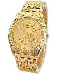 Relojes Hombre,Xinan Metal del Diamante Lujo Venda Cuarzo Analógico Reloj Pulsera (Oro)