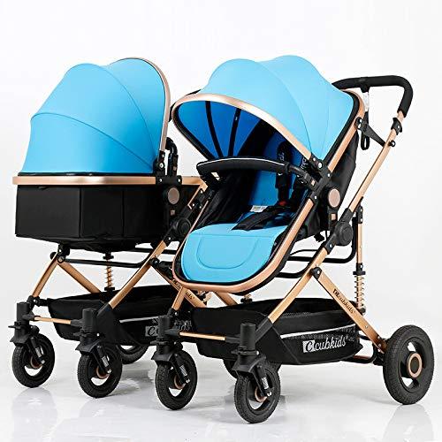 Rwdacfs Kinderwagen Zwillingskinderwagen Abnehmbare Falte Geeignet für Babys von Geburt bis 15kg