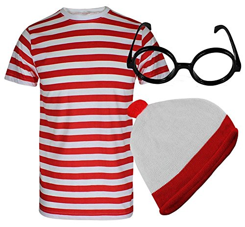 WHERES WALLY, FÜR HERREN DAMEN, ROT, WEISS GESTREIFT/T-SHIRT, SHIRT, OBERTEIL KOSTÜM (Wheres Wally Kostüm)