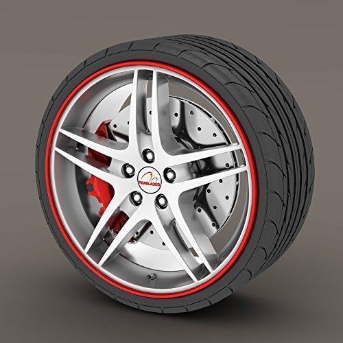 porsche-cayman-rojo-rimblades-rueda-de-aleacion-borde-ring-protectores-de-llanta-neumaticos-llanta-p