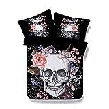 (King-220X240cm-3pcs) - Onlyway Skull Duvet Cover Sets 3D Print New Flower Skull...