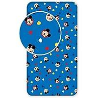 Jerry Fabrics Cachorros de Carácter Mickey and Friends con Sábanas Ajustadas, Algodón, Azul, Individual, 200x90x25 cm