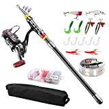 Angelrute Teleskoprute Combo Full Kit, Fishing Rod, FishOaky 2.1M Carbon Fiber Angelruten Angeln...
