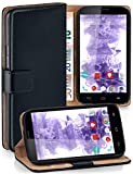 moex® Booklet mit Flip Funktion [360 Grad Voll-Schutz] für Vodafone Smart 4 Power | Geldfach & Kartenfach + Stand-Funktion & Magnet-Verschluss, Schwarz