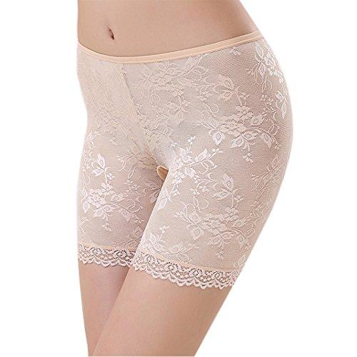 Sasairy Damen Boxershort mit Spitze Rose Lang Nahtlos Schlüpfer Unterhose Damen Panty Hipsters DE32-34 Haut