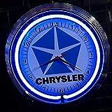 NEONUHR NEON CLOCK - CLASSIC CHRYSLER SIGN - WANDUHR BELEUCHTET NEON BLAU