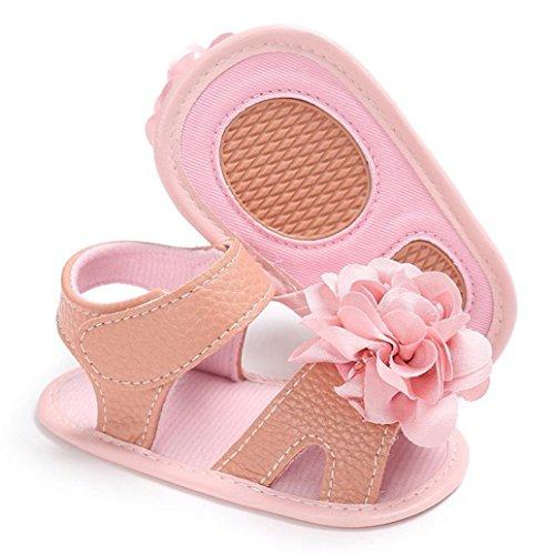 Ouneed® Bebe Fille Ete Fleur Premier Pas Sandale Rose