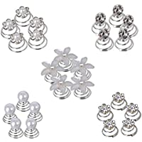 FOGAWA 60pcs Fermagli a Spirali per Capelli da Sposa con Perle 5 Stili Forcine a Spirali di Cristallo e Strass per…