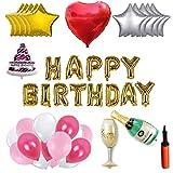 Party Balloons Set - 100 ballons en latex + 11 ballons en papier d'aluminium + Lettres joyeux anniversaire + Ballon à gâteau à la bière au champagne + Pompe + Ruban + Colle pour ballon, Le vendredi