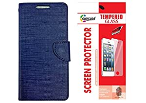 Colorcase Flip Cover Case for Lava Iris Atom 3 - Blue with Tempered Glass