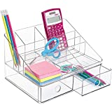 mDesign - Organizador de escritorio, para suministros de oficina; guarda tijeras, lapiceras, marcadores, resaltadores, cinta - 2 cajones - Claro