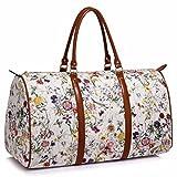 LeahWard® Damen Große Größe Tragetaschen Reise Handtaschen Groß Marke nett Schultertaschen 41412 (Weiß Blumendruck)
