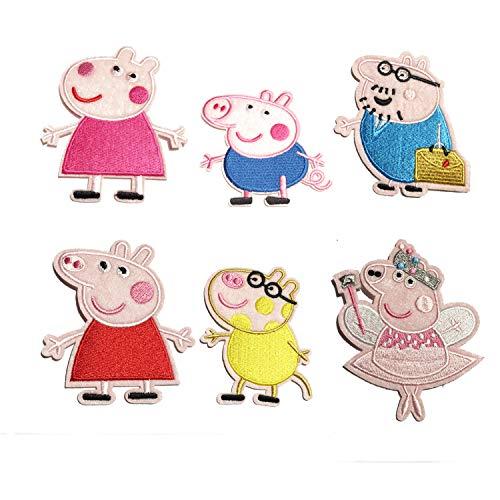 My Sunshine - 6unidades, escudobordado termoadhesivo, diseño Peppa Pig