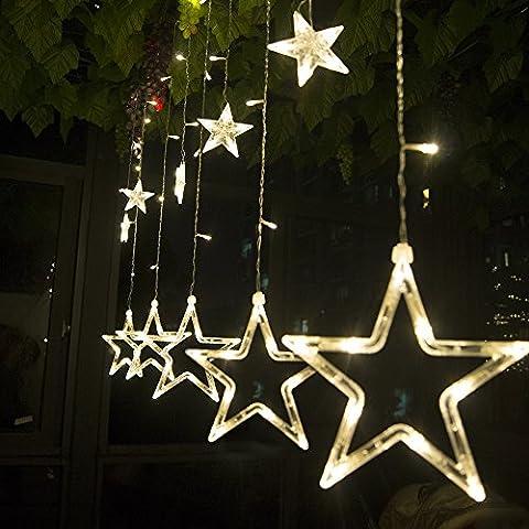 Salcar - LED Lichterkette mit LED Kugel 12 Sterne 138 Leuchtioden Lichtervorhang Sternenvorhang 8 Modi Innen & Außenlichterkette Wasserdicht dekoration für Weihnachten Deko Party Festen --