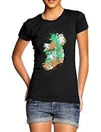 TWISTED ENVY Ireland Paint Splats Silhouette Women's Novelty 100% Cotton T-Shirt, Crew Neck, Comfortable and Soft Classic Tee with Unique Design