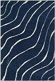 Safavieh Tapis shag, SG472-6511, Bleu Foncé / Crème, 182 X 274  cm