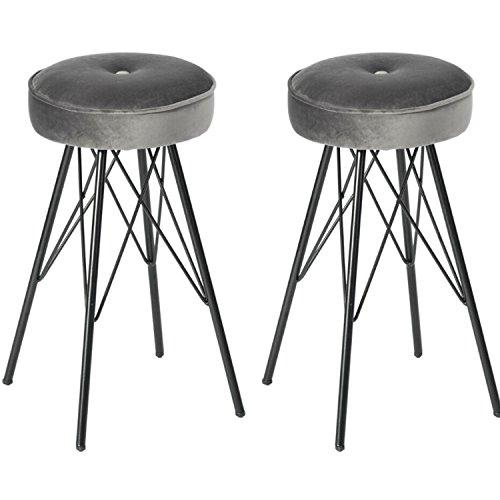 homediscount17Samt Kissen Sitz Esszimmer Stühle tragbar Low Hocker schwarz Metall Beine Eiffelturm Design X festen Rahmen, 30cm x 30cm x Hocker Mit Eiffelturm