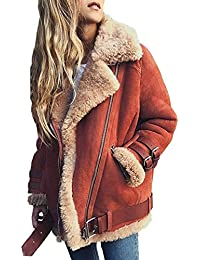 d8525a0c7524 OranDesigne Damen Mäntel Mode Warm Streetwear Winter Faux Wildleder  Shearling Reißverschluss Jacke Slim Fit Revers Outwear