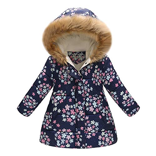 LHWY Toddler Baby Girls Clothes Floral Butterfly Winter Warm Jacket Hooded Windproof Coat Fur Hood Kids Parka