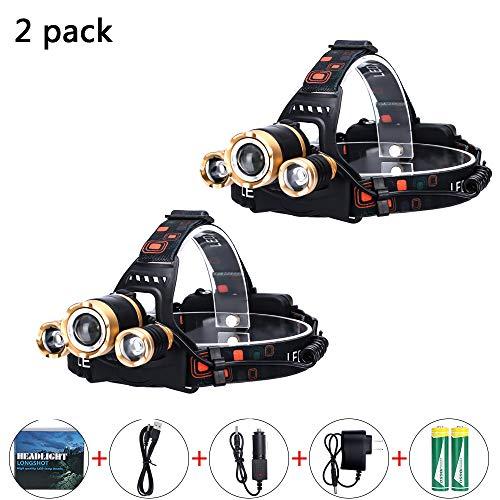 HEGUAN Lampada Frontale Ricaricabile, Faro da Lavoro a LED Micro-USB Ricaricabile 4 modalità Lampada Frontale Impermeabile Migliori fari per Campeggio Escursionismo