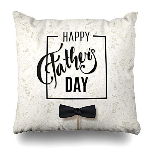 Ahawoso Kissenbezug mit brauner Krawatte und Aufschrift Happy Day, Vatertag und Vaternummer, bezaubernd, mit Reißverschluss, 50,8 x 50,8 cm, quadratisch, Samt, Multi 67, Square 18