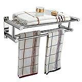 Ardisle - Rack-binario porta-asciugamani doppio, per installazione a parete, prodotto da bagno, cromato, con ripiano di appoggio e barra per sostenere gli asciugamani