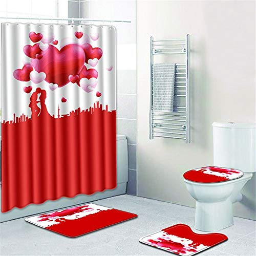 LWPCP Duschvorhang + Türmatte + WC-Abdeckung + Fußkissen 4-Teiliges Set Badezimmer-Baddekoration HD-Druck Rutschfest Feuchtigkeitsfest,2,45 * 75CM