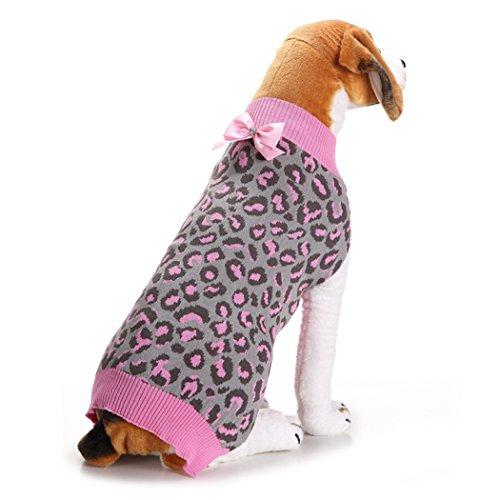 VENI MASEE Neueste Cute Warm Cable Stricken Haustier Hund Pullover PinkLeopard Party/Geschenk