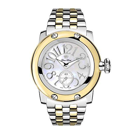 Glam Rock Women's Miami 46mm Two Tone Steel Bracelet Steel Case Swiss Quartz MOP Dial Analog Watch GR10535