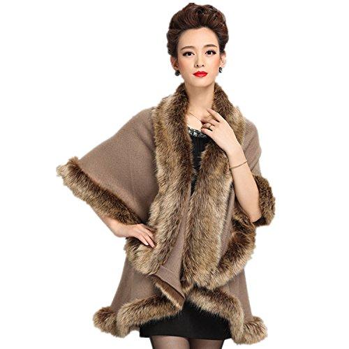 iHAIPI - Damen warmen Stil Luxus Plaid Schal Pelz doppelte Schicht Mantel Kap Mantel 5