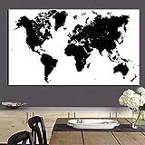 XIAOXINYUAN 100% Handgemalte Abstrakte Ölmalerei Schwarz Und Weiß Weltkarte Der Modernen Malerei Wand Kunst Bild Für Wohnzimmer Einrichtung 70×90Cm