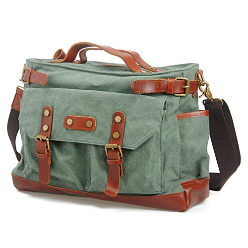 Canvas Grün Bag Messenger (Aidonger Unisex Canvas und Leder Schultertasche Retro Messenger Bag (Koralle Gruen))