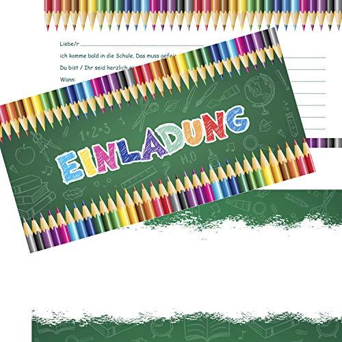 KREATIVES HERZ - Einladungskarten zur Einschulung Buntstifte Schulanfang Einladungen Karten 1.Schultag Mädchen & Jungen (10 Karten + 10 Umschläge)