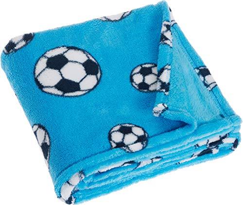 Playshoes Baby und Kinder Fleece-Decke, vielseitig nutzbare Kuscheldecke für Jungen und Mädchen, 75 x 100 cmmit Fußball-Muster (Baby-decke Fußball)