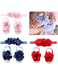 bc68c82ff4a Babymoon Baby Flower Headbands and Barefoot Sandals Set Hair Accessories  Foot Bands for Baby Girls